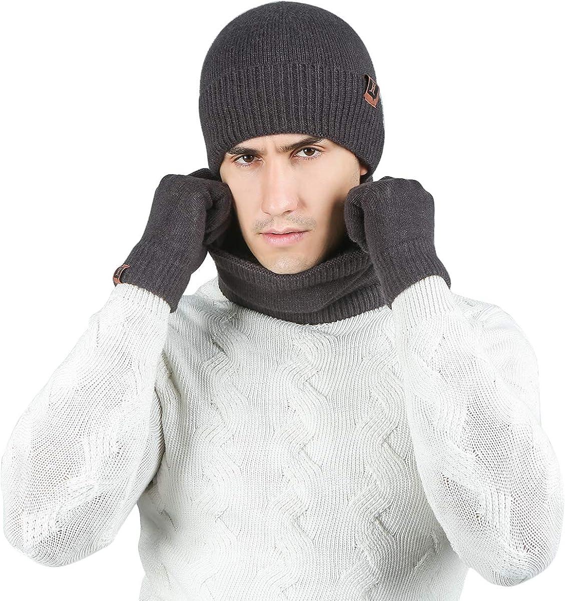 LumiSyne Invierno 3 En 1 Gorro Beanie De Punto Bufanda De Tubo y Guantes De Pantalla T/áctil Hombre Mujer Sombreros De Suave Calentador De Cuello Tela De Angora Suave