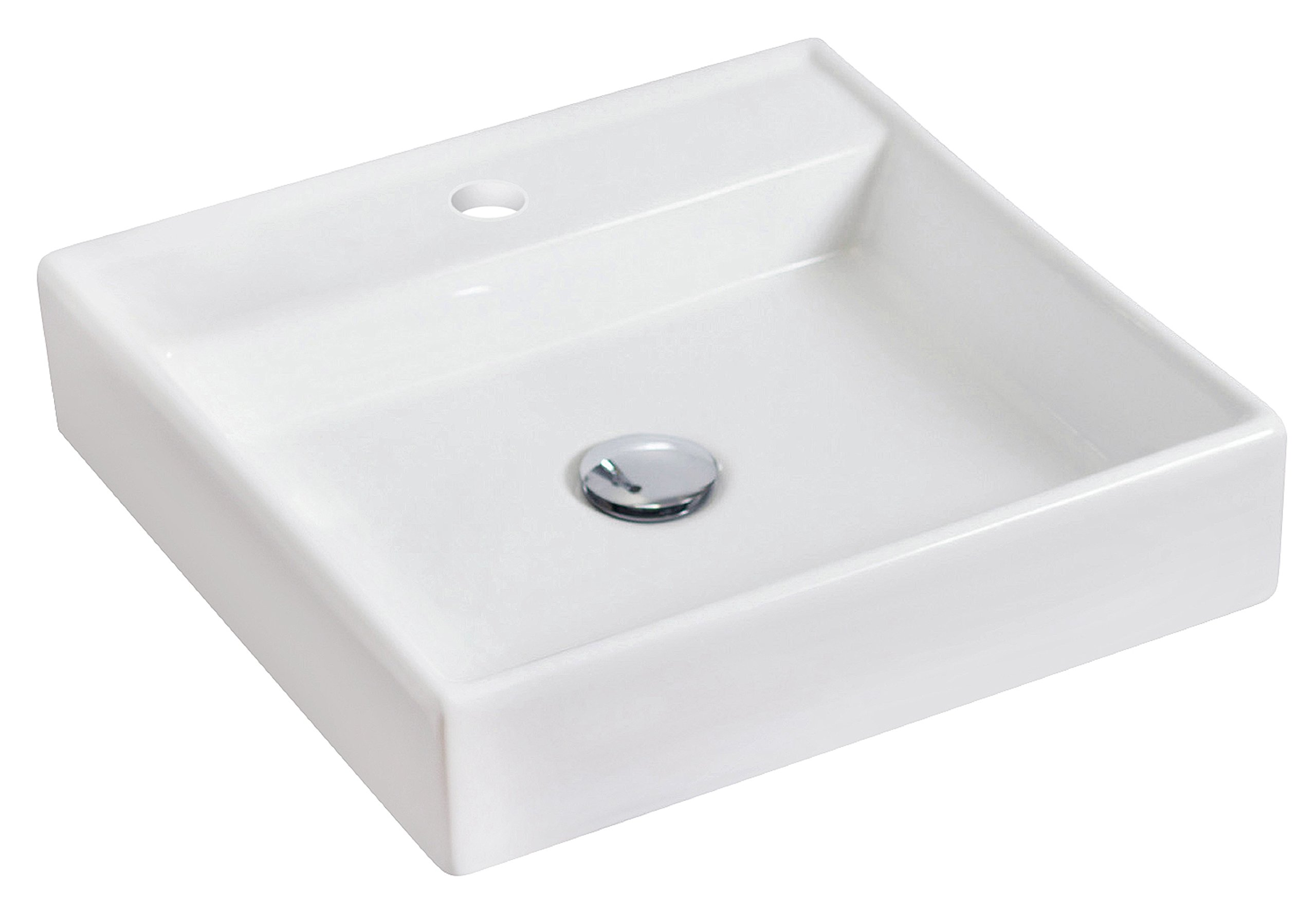 American Imaginations Square Shape Vessel, comes with an Enamel Glaze Finish in White Color and Designed for a Single Hole Faucet