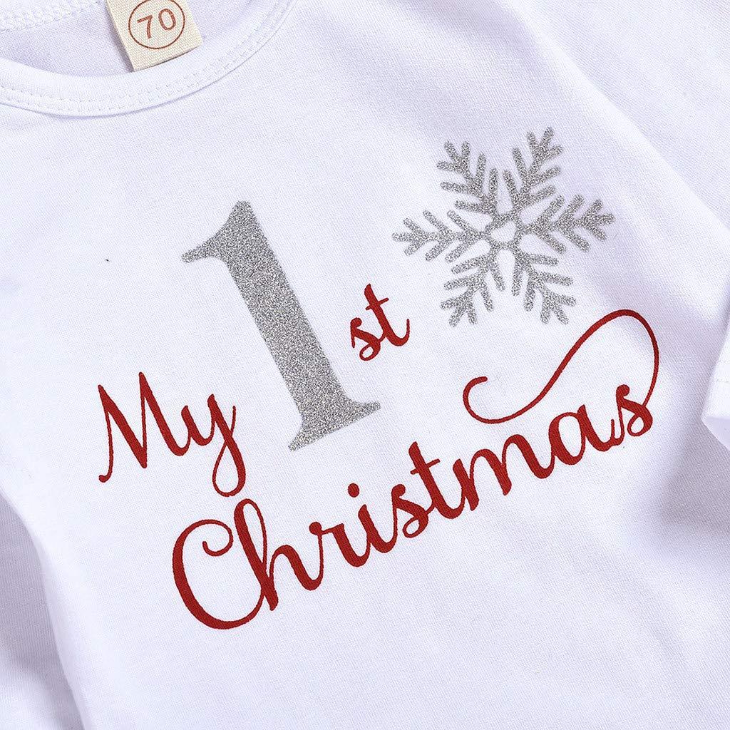 Hose Haarband Weihnachten Outfits Set Kleidung 4 Pcs Bodysuit Strampler VERMSS Weihnachten Babykleidung,My First Christmas Baby M/ädchen//Junge Spielanzug Hut