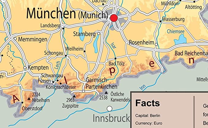 Map Of Germany Memmingen.Tiger Moon Illustrated Map Of Germany Paper Laminated A1 Size