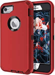 I-HONVA for iPhone 6s Plus Case, iPhone 6 Plus Case Built-in Screen Protector Shockproof 3-Layer Full Body Protection Rugged Heavy Duty Durable Cover Case for Apple iPhone 6 Plus/6s Plus, Red/Black