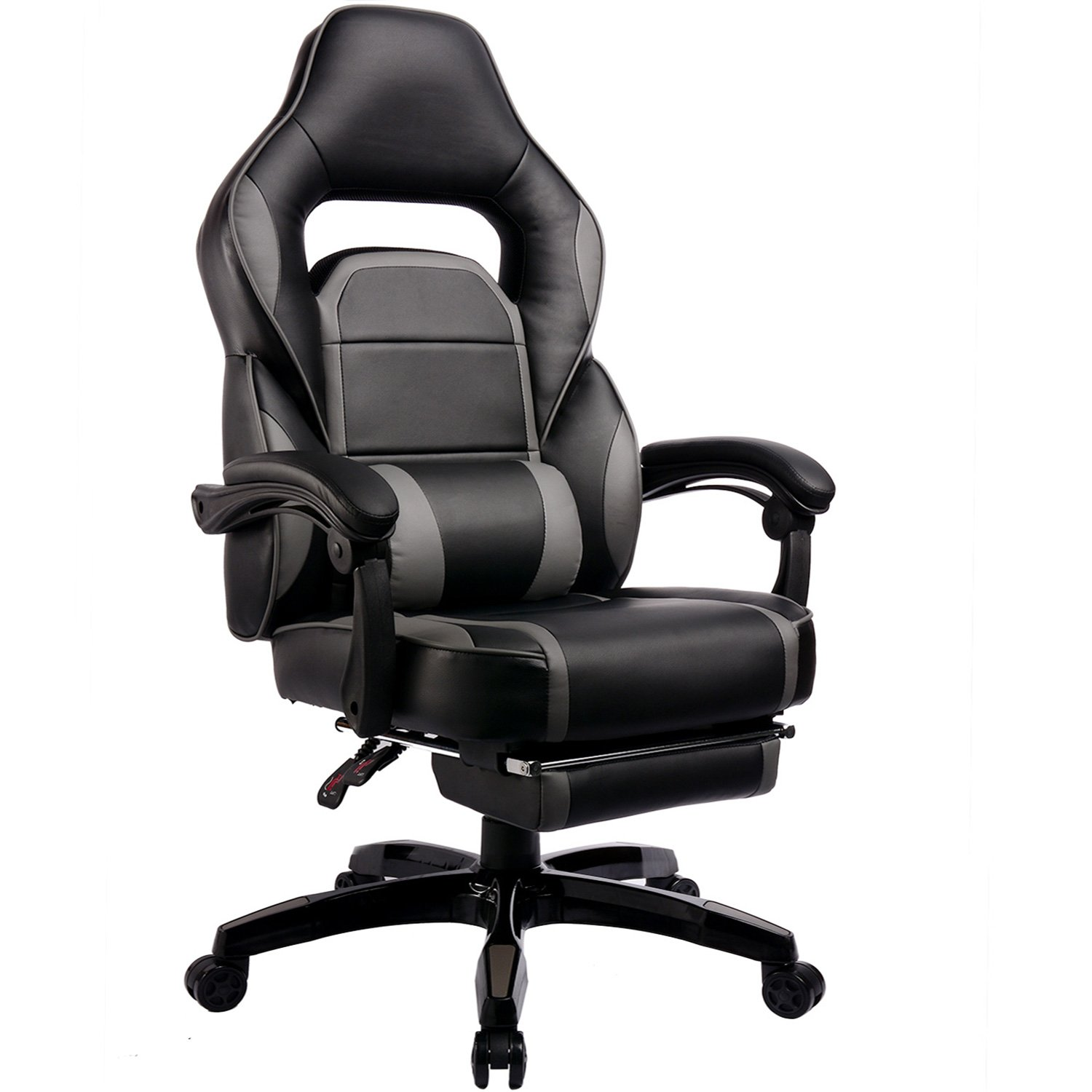 GTracing High Back Ergonomic Gaming Chair Racing Chair Napping Computer Office Chair With Padded Footrest , Black and GRAY