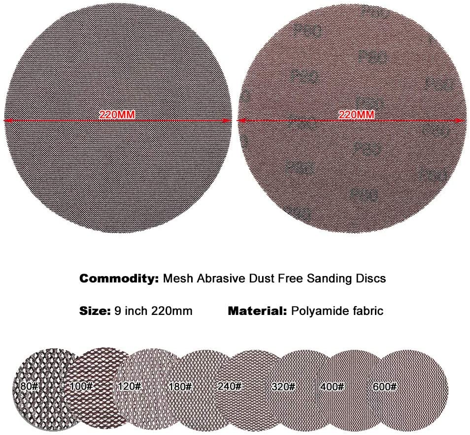 BOOSSONGKANG Sandpaper 10Pcs Mesh Cloth Abrasive Disc Dust Free Sanding Discs 9 Inch 220mm Anti-Blocking Dry Grinding Sandpaper 80 to 2 180