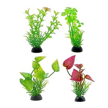 Saim - Juego de 4 plantas de plástico para acuario, planta artificial de hierba submarina, decoración de peces, 10 cm de altura: Amazon.es: Productos para ...