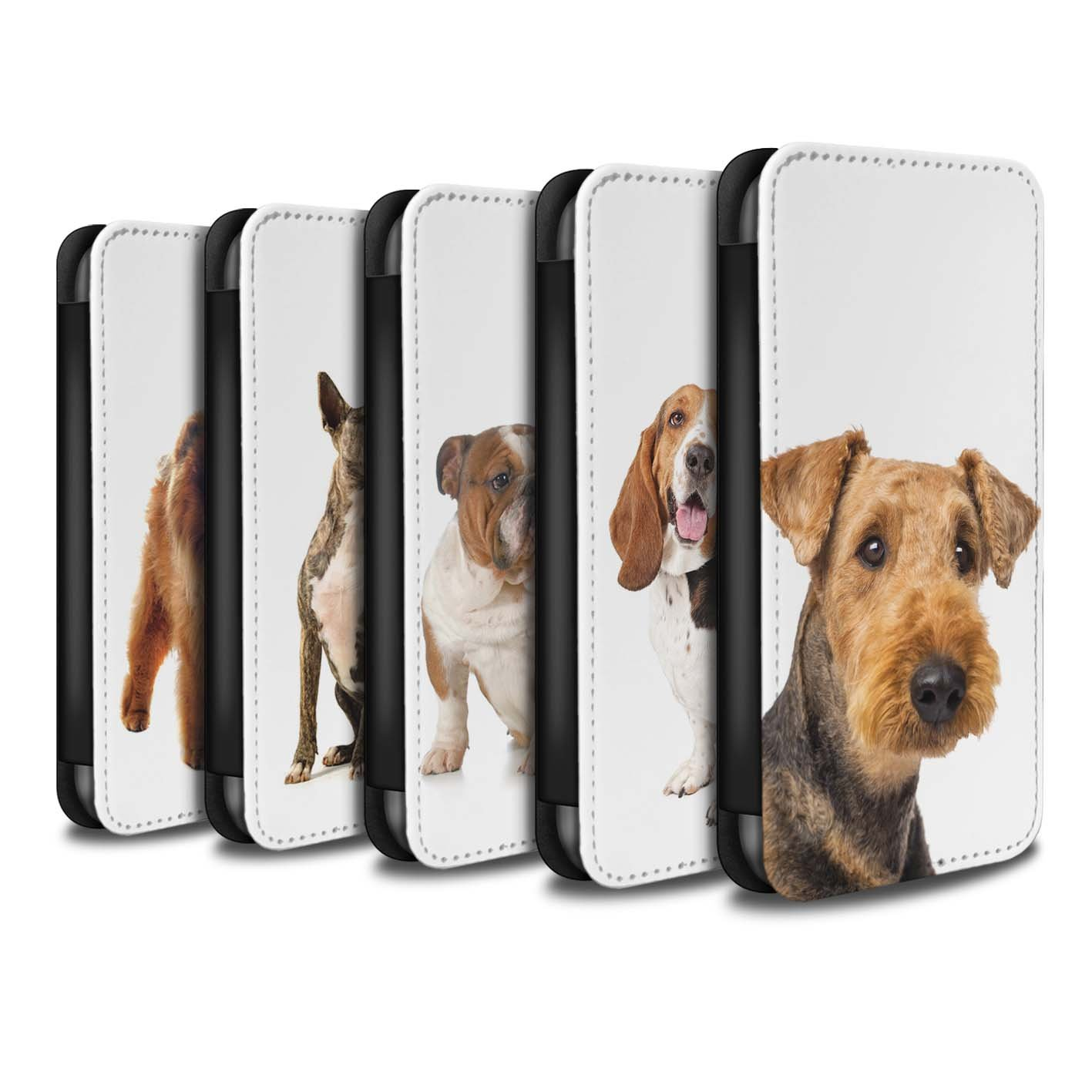 STUFF4 PU Leather Wallet Flip Case/Cover for Apple iPhone X/10 / Pack 12pcs Design / Dog Breeds Collection