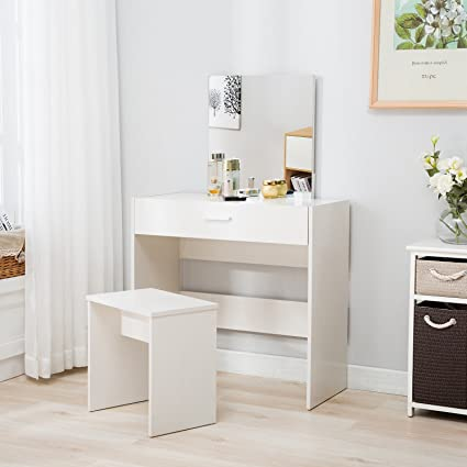 Merveilleux Mecor Vanity Makeup Table Set Dressing Table With Stool And Square Mirror, White