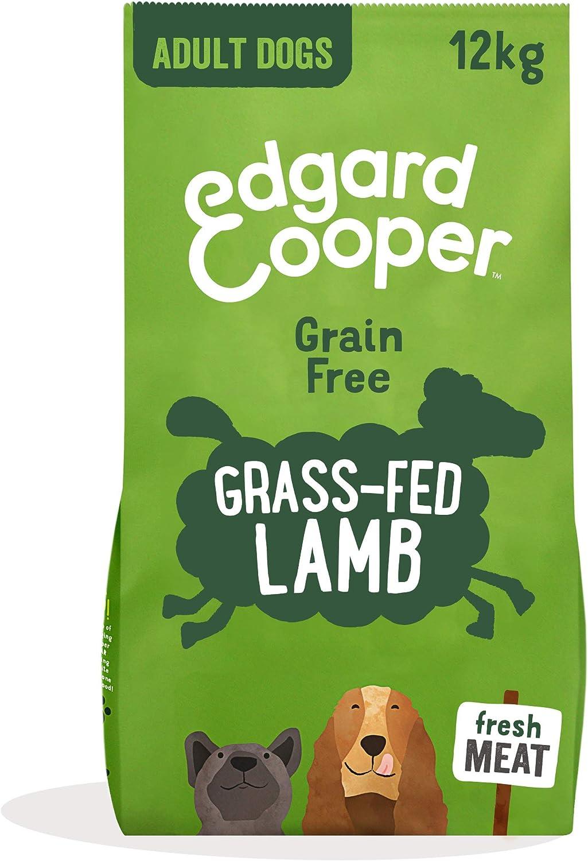 Edgard & Cooper pienso para Perros Adultos sin Cereales, Natural con Cordero Fresco, 12kg. Comida Premium balanceada sin harinas de Carne ni Carnes sobreprocesadas, cocinada a Baja Temperatura