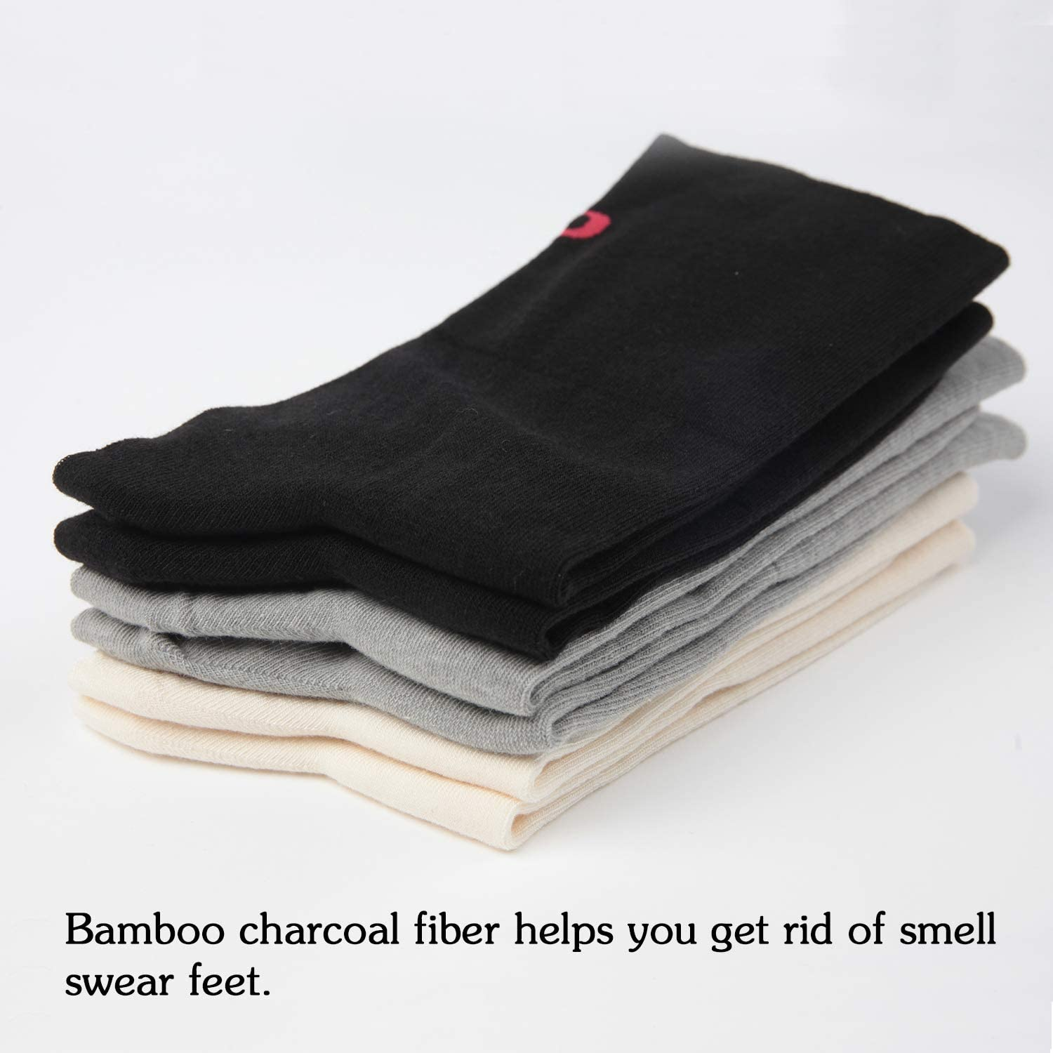 +MD 3 Pack Men and Women Moisture Smell Control Bamboo Dress Socks Top Crew for Business