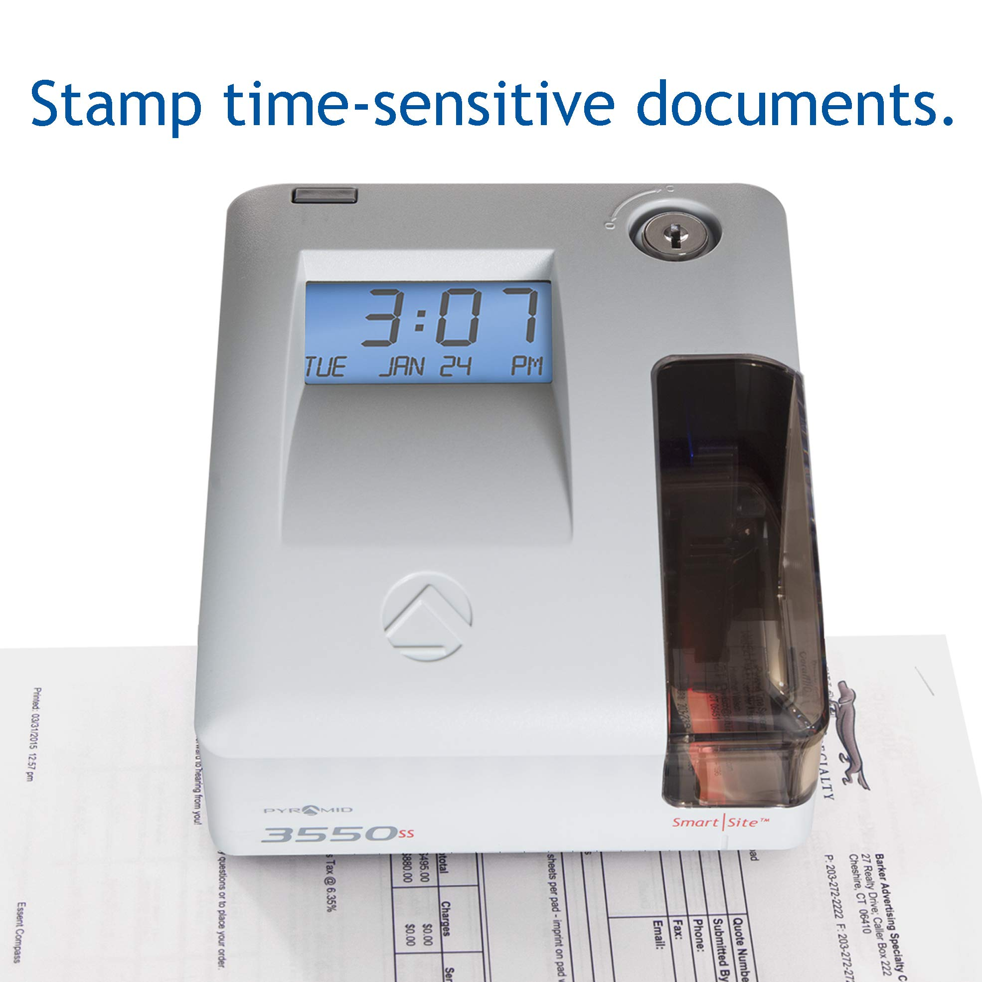 Pyramid 3550ss SmartSite Time Clock and Document Stamp - Made in USA by Pyramid Time Systems (Image #4)