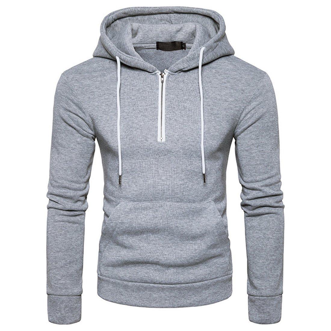 uninukoo-men clothes Unko Mens Fashion Quarter Zip Drawstring Hoodies Pullover Sweatshirt