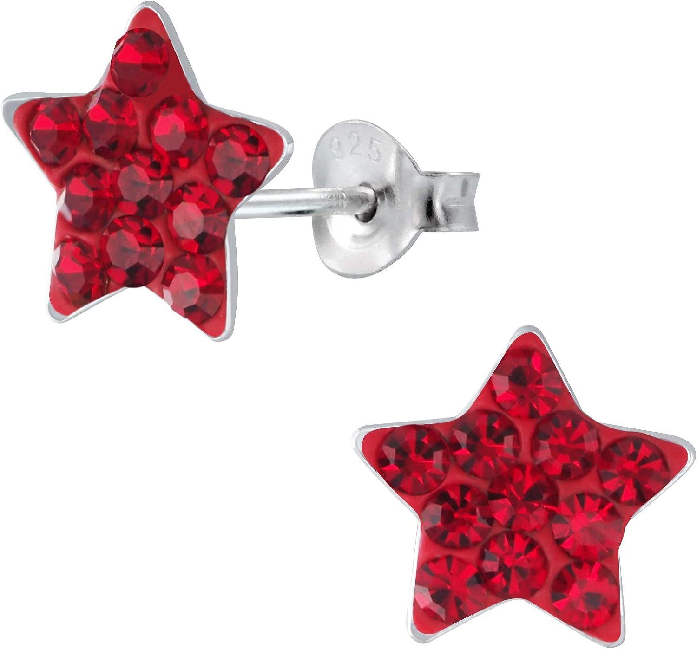 Laimons - Pendientes infantiles para niña, estrella con purpurina, 9 mm, plata de ley 925