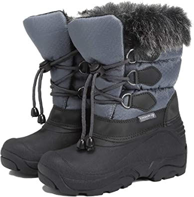 Boys Girls Suede Leather Outdoor Waterproof Fur Lined Winter Snow Boots Toddler//Little Kid//Big Kid
