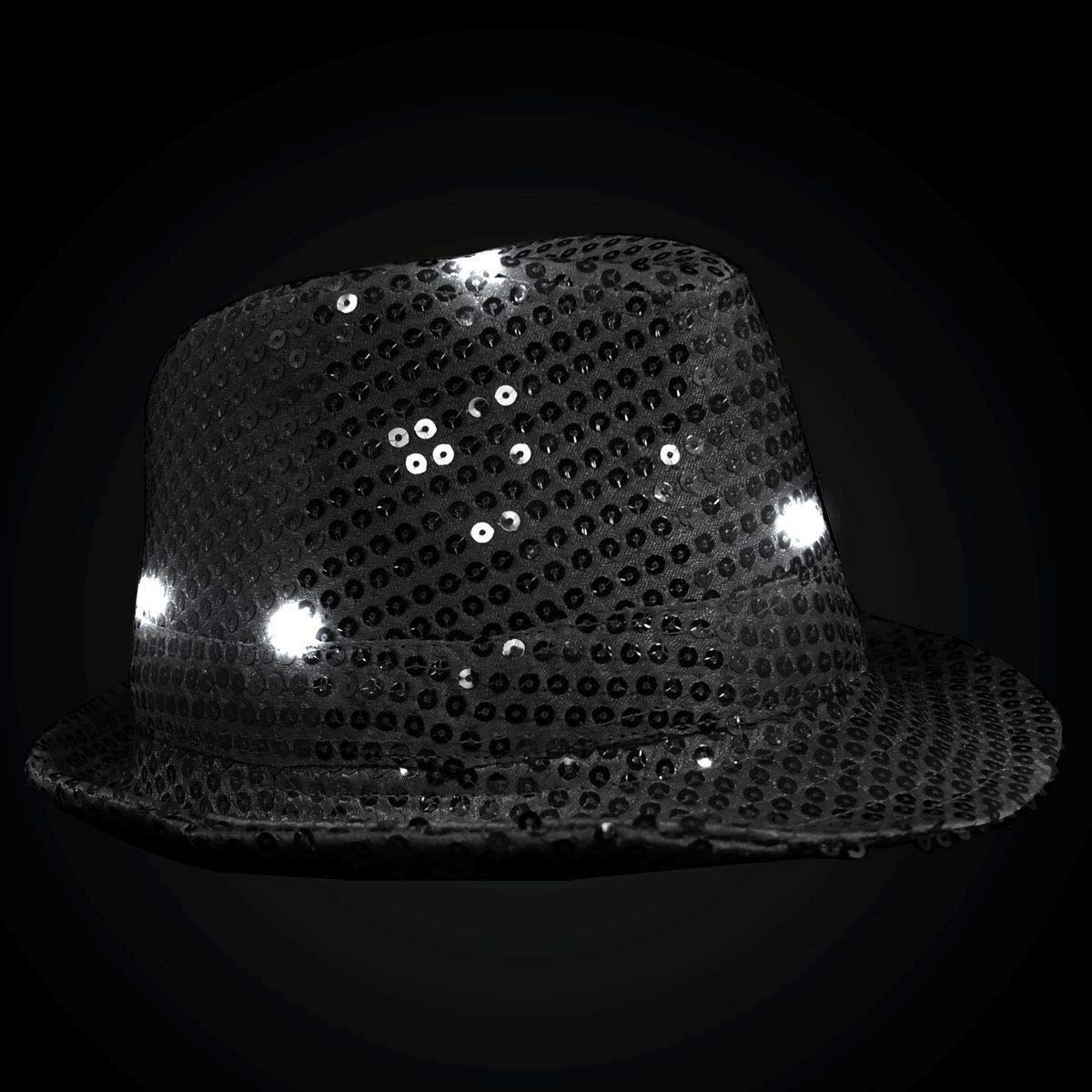 71df392a46265 Amazon.com  blinkee LED Flashing Fedora Hat with Black Sequins by  Toys    Games