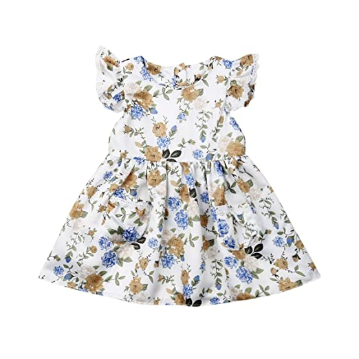 718da4419e1a Toddler Kid Baby Girls Flutter Sleeve Lace Floral Print Dresses Princess  Summer Casual Sundress with Pocket