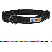 Pawtitas Reflective Dog Collar with Stitching Reflective Thread | Reflective Dog Collar with Buckle Adjustable and…