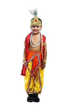 Shree Balaji Dress Big Boys\u0027 Lord Krishna Dress Fancy Dress Cosplay Costume  Small Orange
