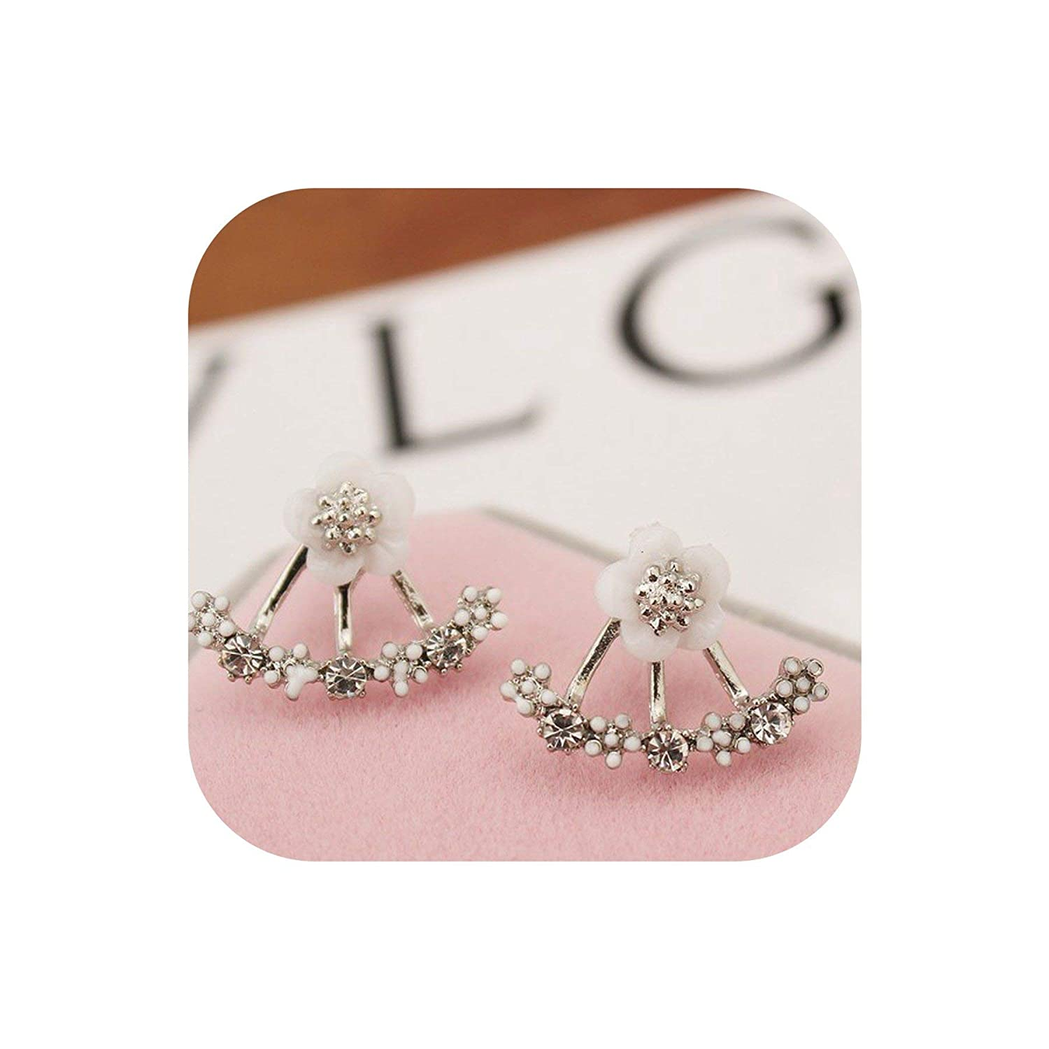 Jewelry Cute Cherry Blossoms Flower Stud Earrings For Women Several Peach Blossoms Earrings