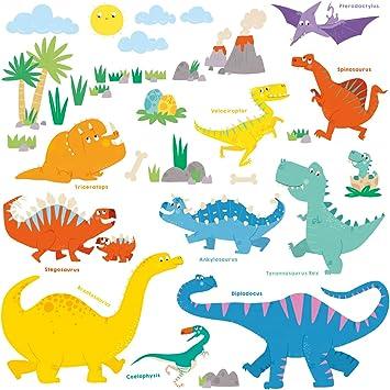 DECOWALL DS-8032 Dinosaurio Colorido Vinilo Pegatinas Decorativas Adhesiva Pared Dormitorio Sal/ón Guarder/ía Habitaci/ón Infantiles Ni/ños Beb/és English Ver. Peque/ña