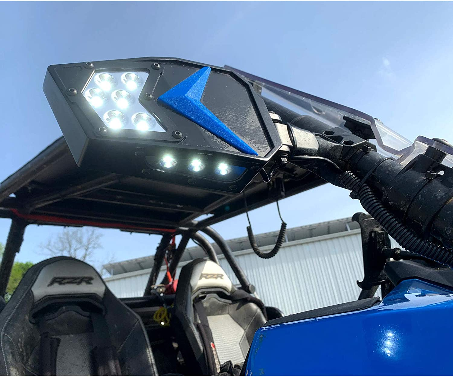 MCSADVENTURES Led Rock Light UTV Side Mirrors Set With Switch And Harness For Polaris RZR 900 s 1000 xp Pro Turbo