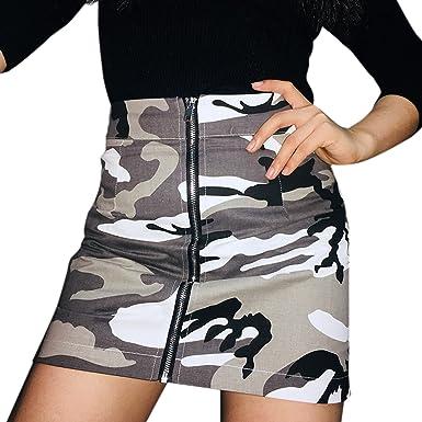 13ad87a49cd02 LAEMILIA High Waist Mini Skirt Camouflage Zipper Front Sexy Short Printed  Bodycon Denim Skirts: Amazon.co.uk: Clothing