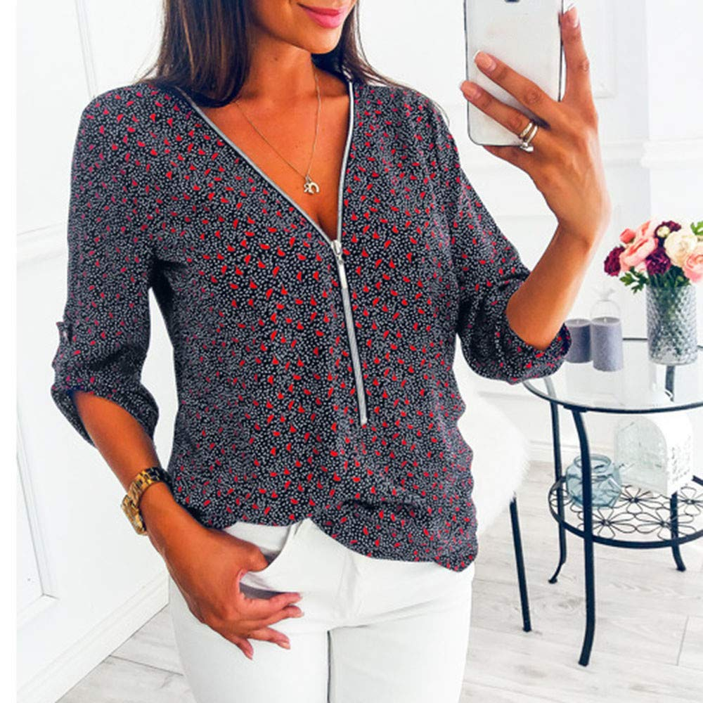 VJGOAL Mujer otoño e Invierno Moda Color sólido e impresión Blusa de Manga Larga Tops Sueltos Señoras Sexy V-Cuello con Cremallera Camisa de Trabajo de ...