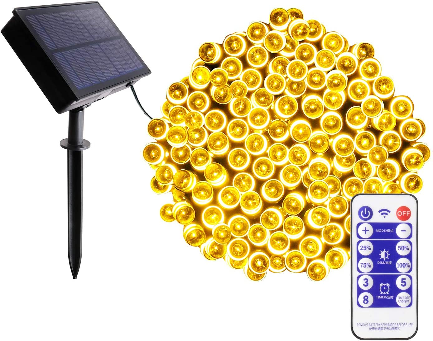 Amazon Com Blingstar Solar Christmas Lights 200 Led 75ft String Lights 8 Modes Waterproof Fairy Lights Remote Control Timer Warm White Solar Powered Christmas Lights For Indoor Outdoor Home Patio Decoration Home