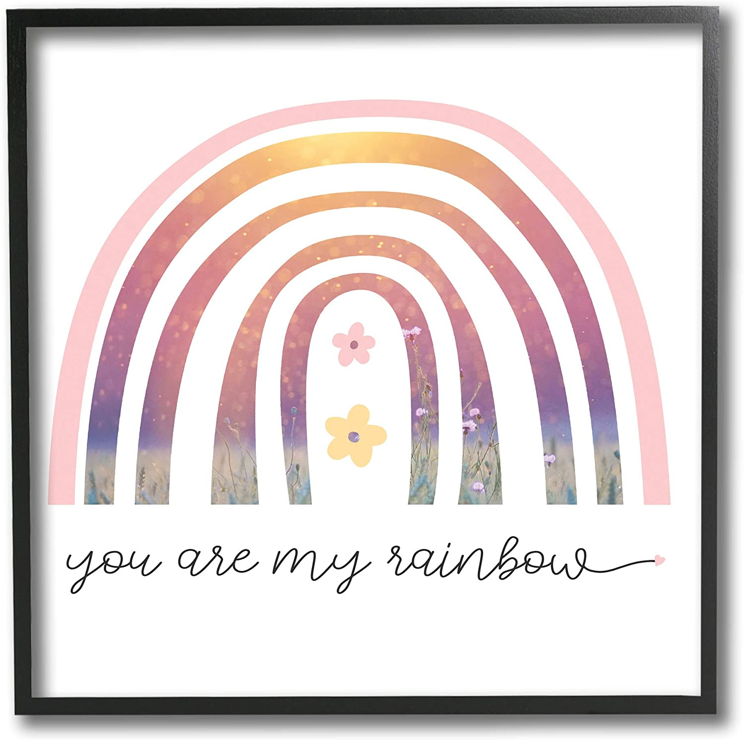 Designed by Daphne Polselli Black Framed Wall Art 12 x 12 Stupell Industries Youre My Rainbow Phrase Spring Pink Florals White