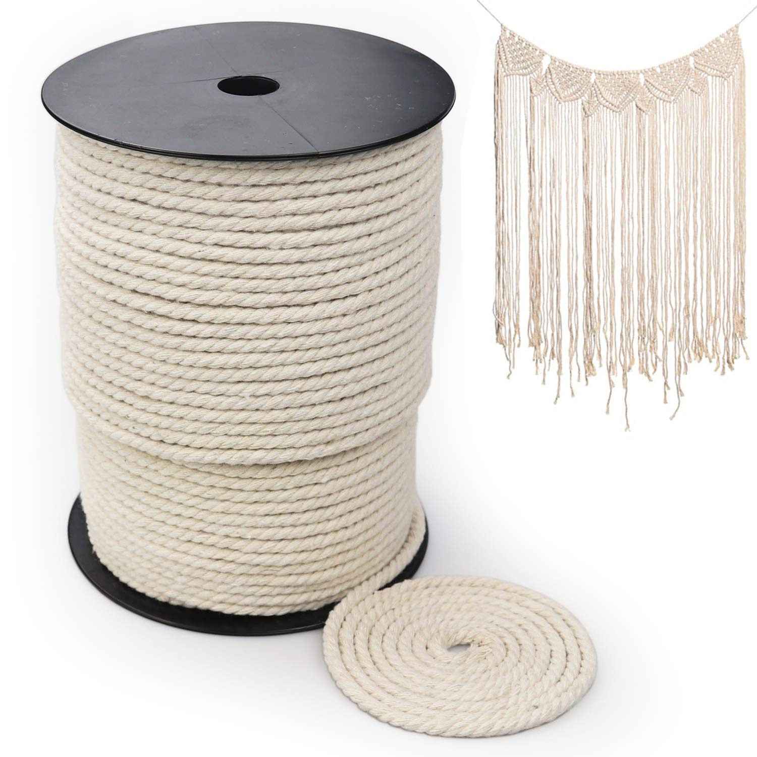 100/% Natural Macrame Rope Plant Hangers Macrame Cord 4mm x 328Yards Decorative Projects Soft Undyed Cotton Rope 3 Strand Twisted Cotton Cord for Wall Hanging Knitting Crafts