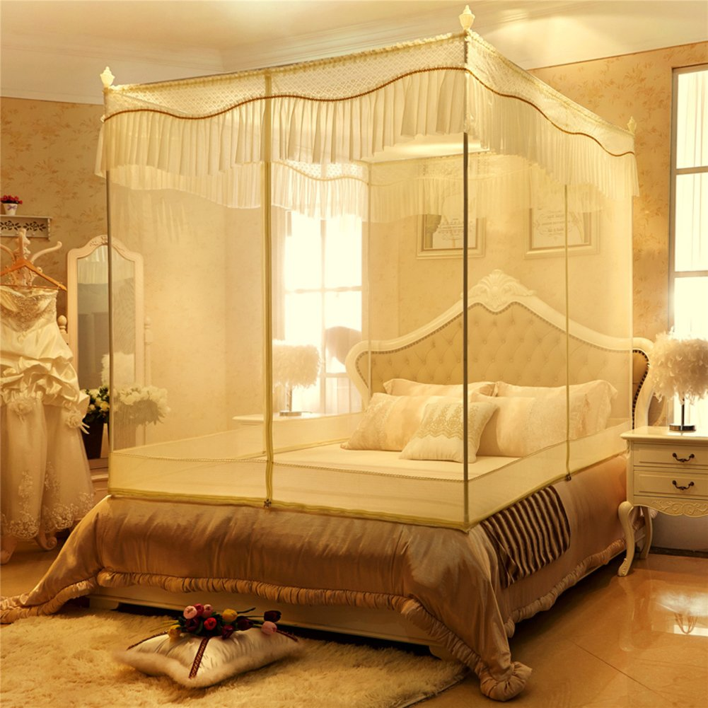 DE&QW Four Corner Zippered Mosquito Net,Net Yarnt Encryption Court Bed Canopy-B Queen1