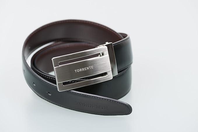 d379d4d766ba Torrente - Ceinture Reversible Noir Marron - Cuir - Taille Ajustable -  Dimensions   120