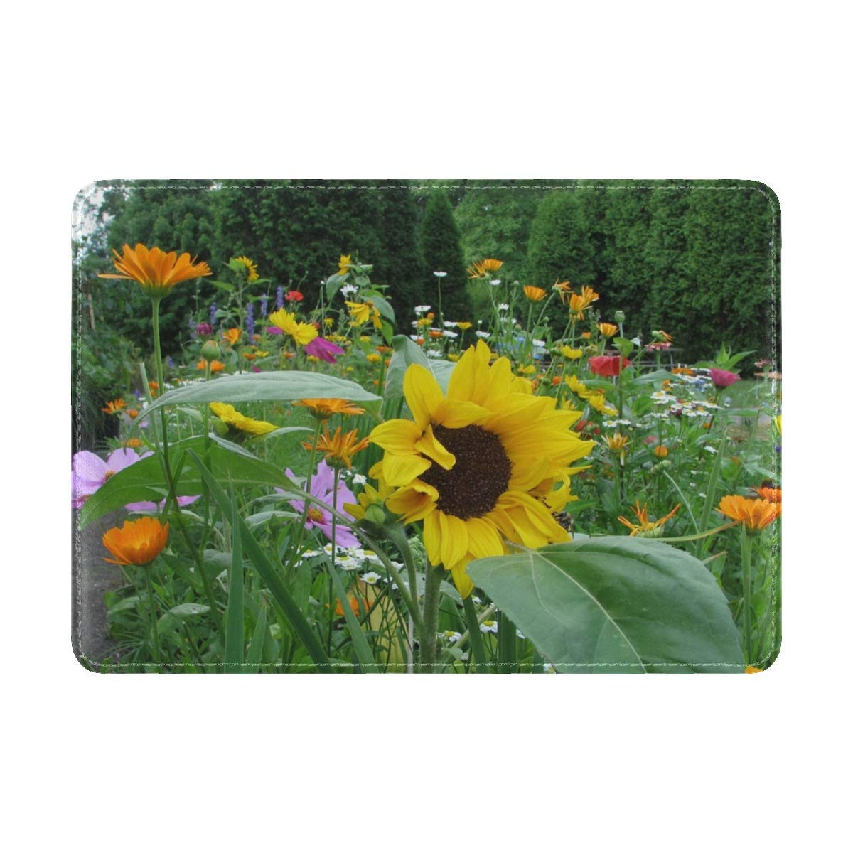 Sunflowers Daisies Kosmeya Flowers Meadow Trees Flowerbed Leather Passport Holder Cover Case Travel One Pocket