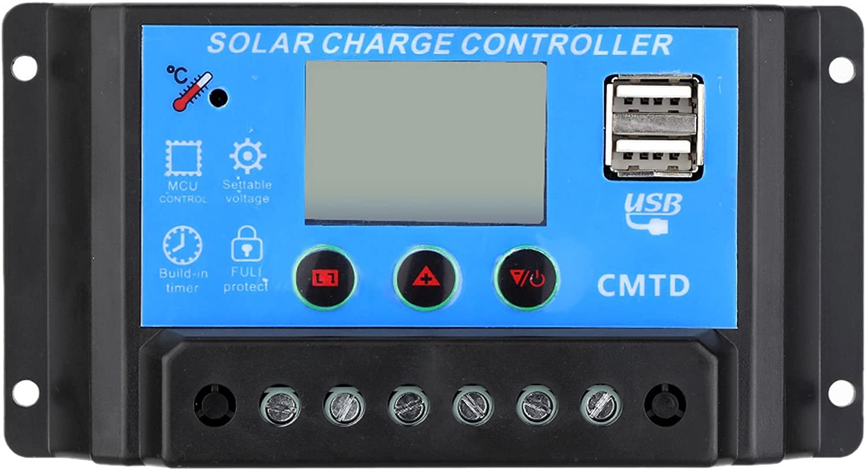 VIASOLAR Regulador Solar de 20A 12V/24V con Display y 2 USB LCD