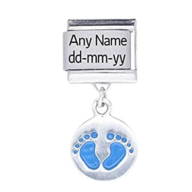 c8c1dd6a25961 Silver & Stainless Steel- Personalised Baby Boy Footprint Name & Date  Italian Charm - Fits Nomination