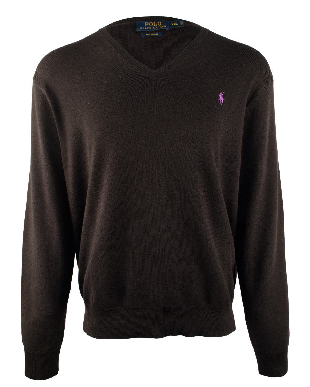 Polo Ralph Lauren Mens Ribbed Long Sleeves V-Neck Sweater Black M