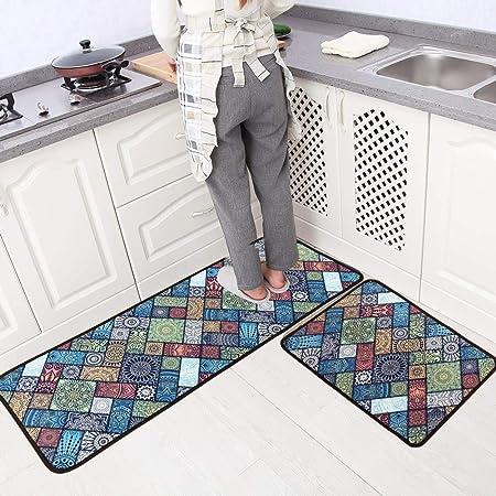 Leebei Kitchen Mats Non Slip Washable Kitchen Rugs Doormat Carpet Floor Mat 15 7 23 6 15 7 47 2 2pc Bosi Amazon Co Uk Kitchen Home