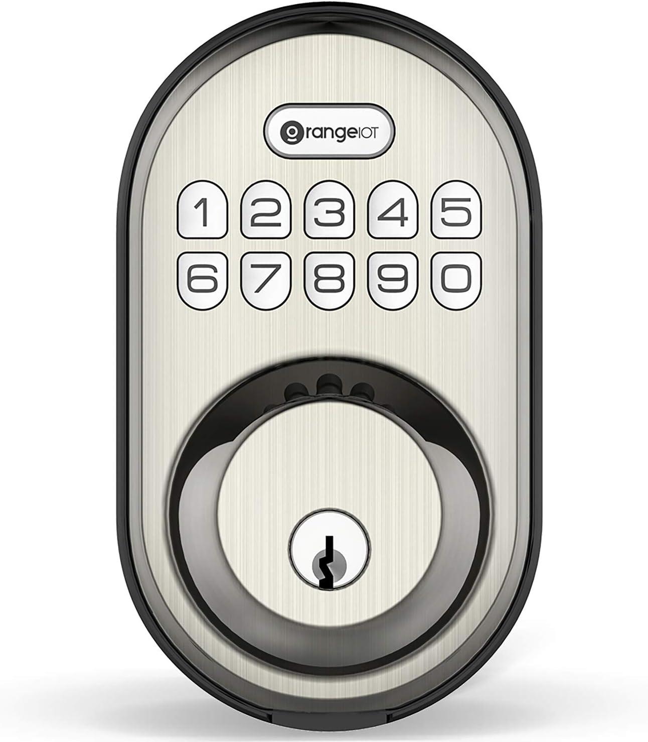 Keyless Entry Deadbolt Lock, Orangeiot Electronic Keypad Door Lock, Auto Lock, 1 Touch Locking, 20 Customizable User Codes, Back Lit, Easy Installation for Front Back Door, Satin Nickel