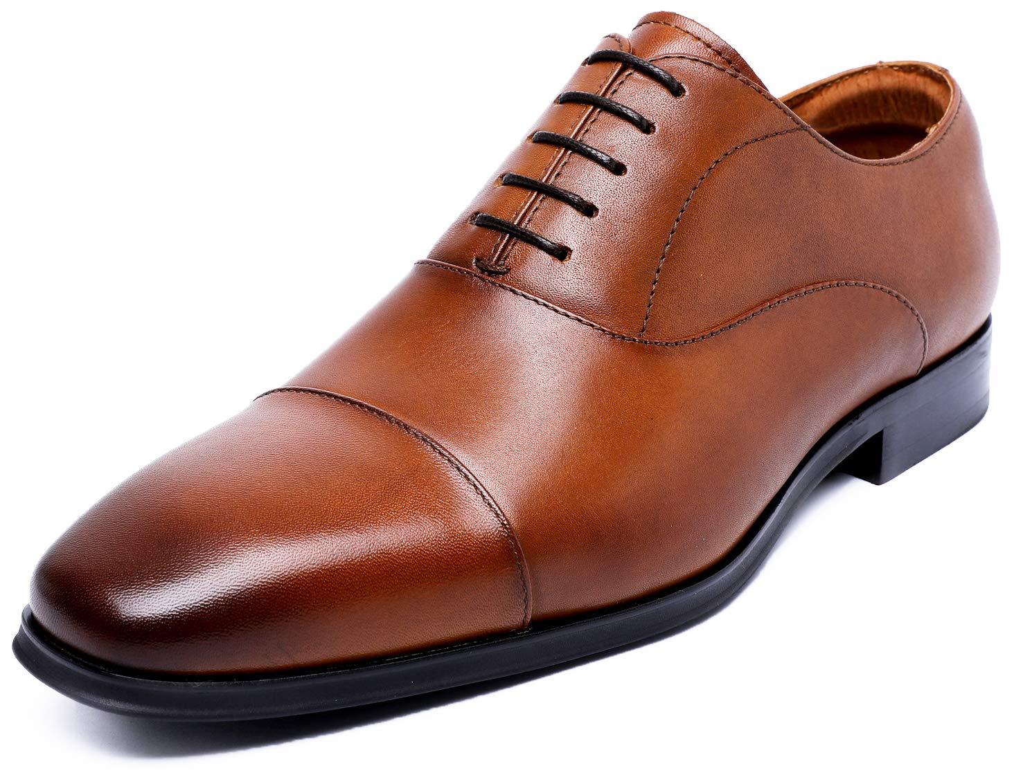 Men's Cap Toe Dress Shoes Lace up Oxford Shoes for Men (10 M US, Brown)