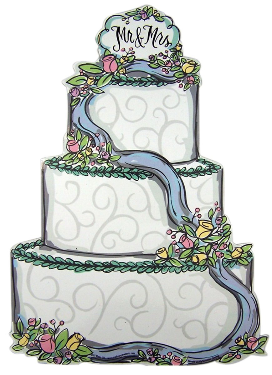 or Office 11 Inch Mr and Mrs White Wedding Cake Magnet Decoration for Car Refrigerator