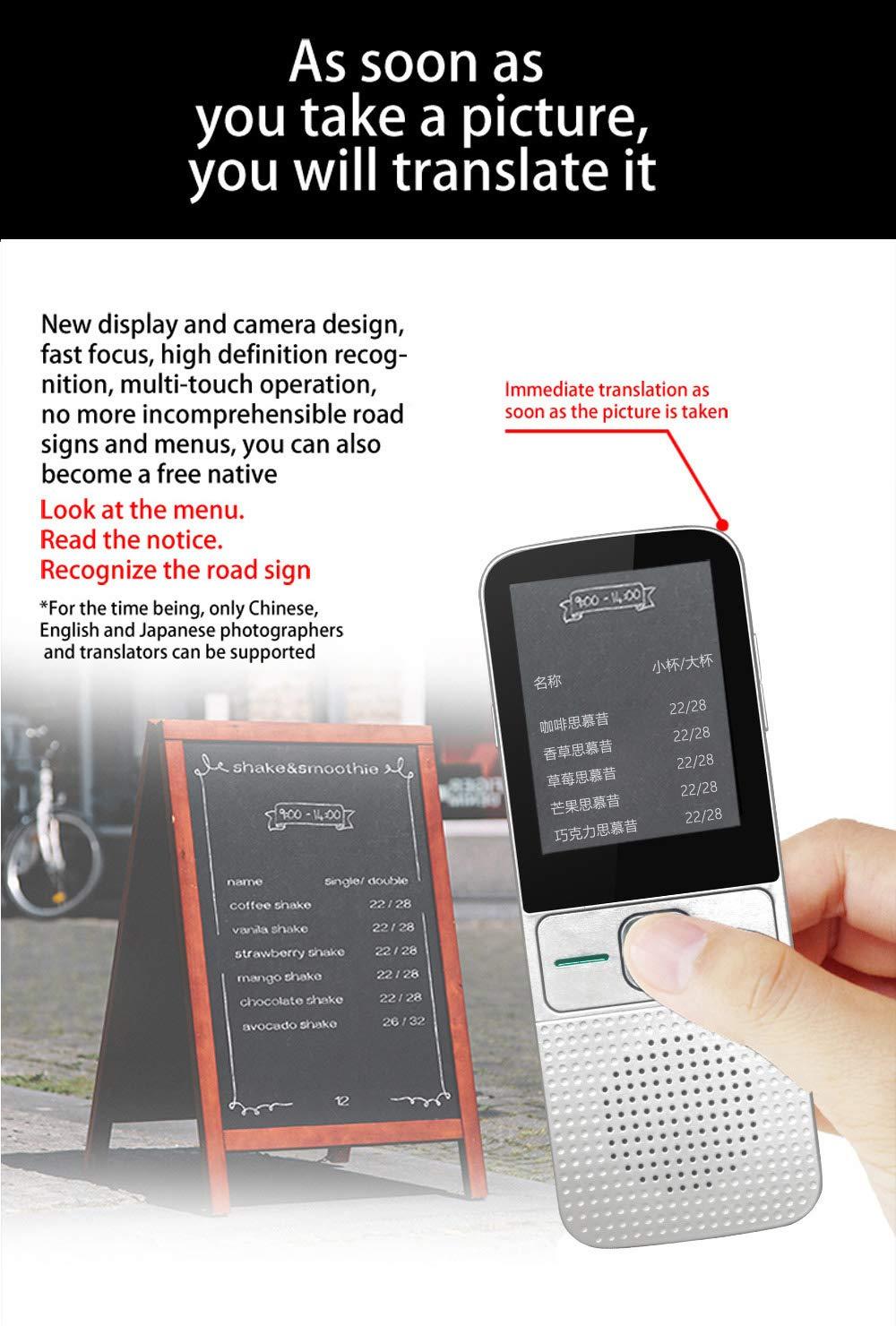 DSYYF Smart Voice Translator Offline Portable 137 Sprachen Instant Camera Photo Translators Intelligente /Übersetzungen Tourismus-Maschine,Schwarz