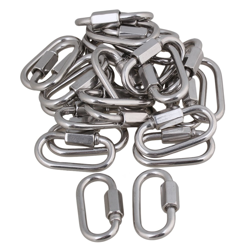 Yibuy 25x Multifunctional Stainless Steel Quick Oval Screwlock Link Lock Carabiner M4