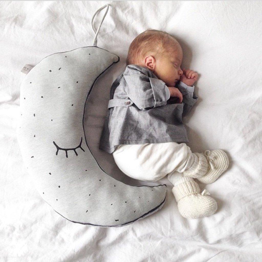 MALTONYO17Kids durevole a forma di luna sonno cuscino luminoso giocattolo stanza da letto Gift NAIMRKYUBH501