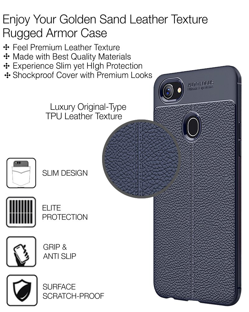 Golden Sand Leather Texture Series Shockproof Armor Tpu Soft Case Oppo F7 Auto Focus Electronics