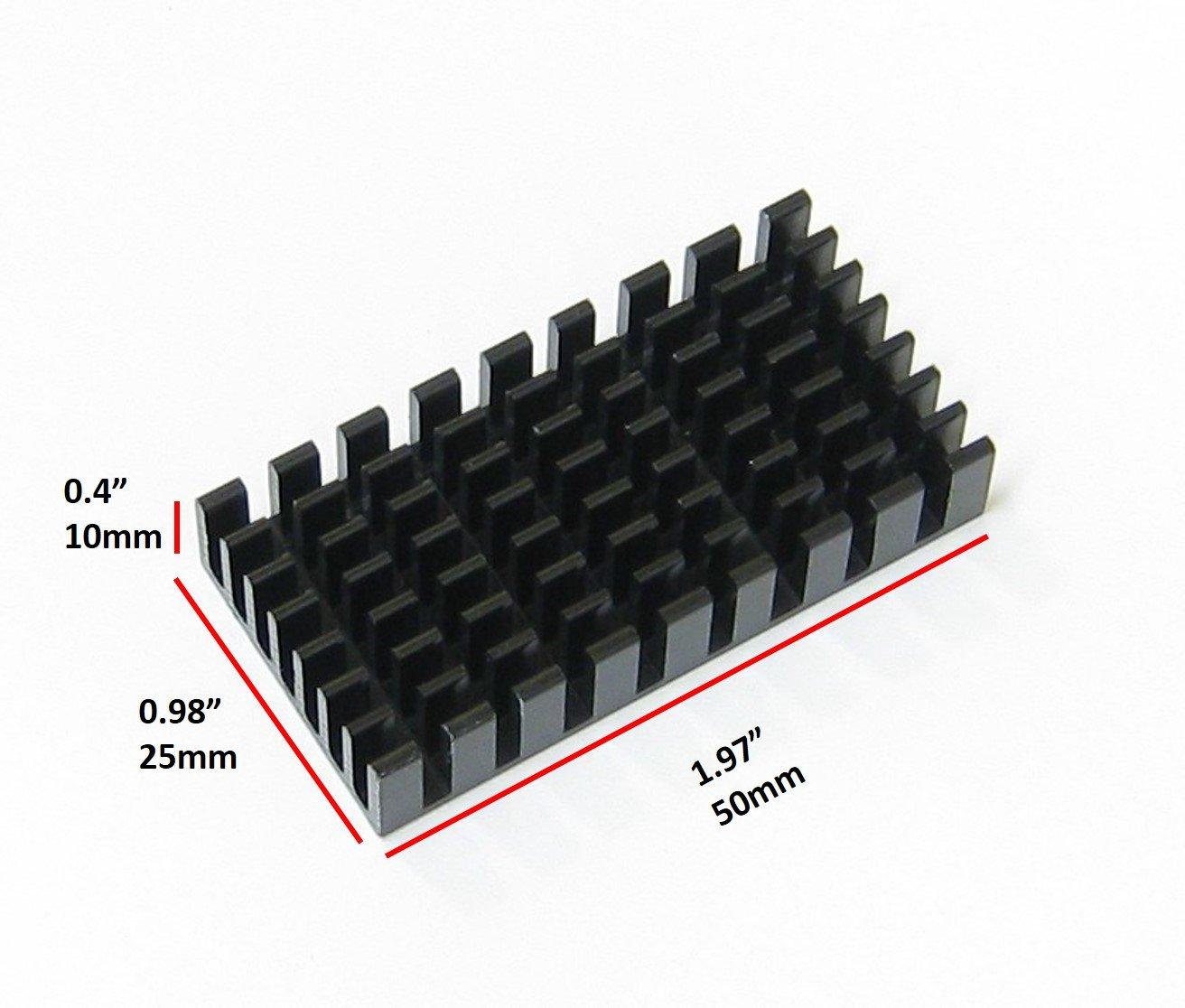 Easycarga 4pcs anodizado Aluminio disipador de Calor 50 x 25 x 10 mm 4 Piezas 50 mm x 25 mm x 10 mm