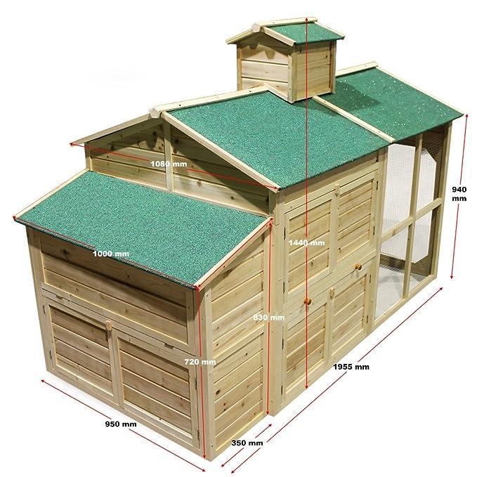 Gallinero Caseta gallinas Corral Casita madera Zona abierta Nidos Ponedero Gallos Pollos Pollitos: Amazon.es: Bricolaje y herramientas