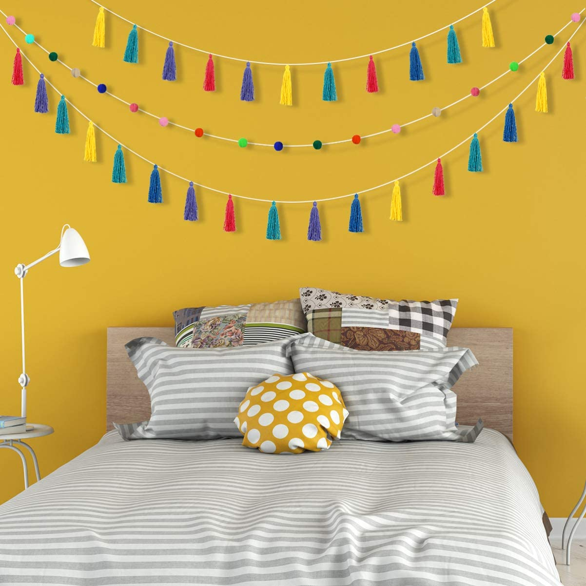 Tassel Garland Pom Pom Ball Garland Living Room Wall Decoration Colorful Tassel Banner 2 Pack