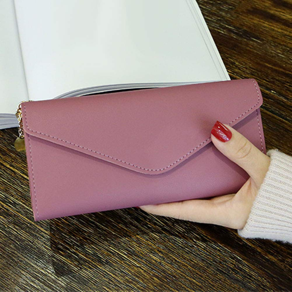 Aland Solid Color Faux Leather Women Long Purse Card Cash Holder Envelope Clutch Bag Purple by Aland (Image #8)