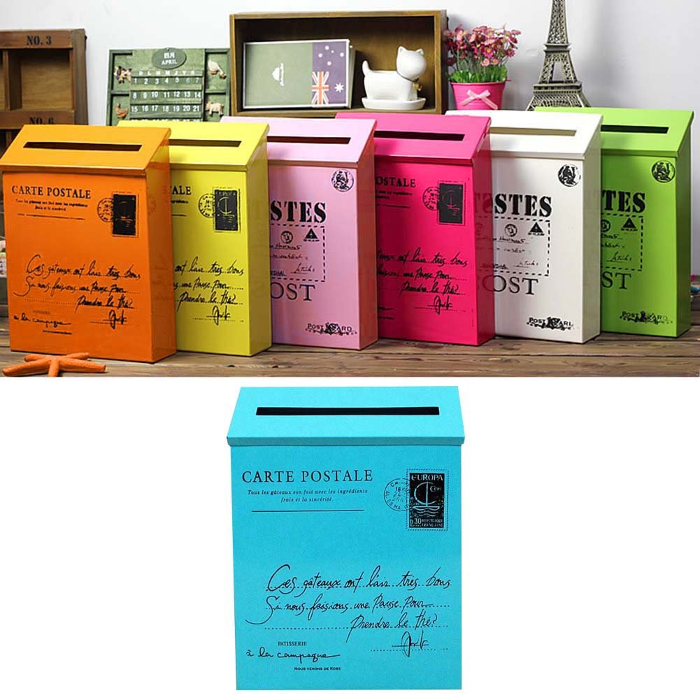 Junda Decorative Mailbox Letter Post Box, Countryside Retro & Wall Mounted, Iron Made and Waterproof, Multicolored by Junda (Image #3)