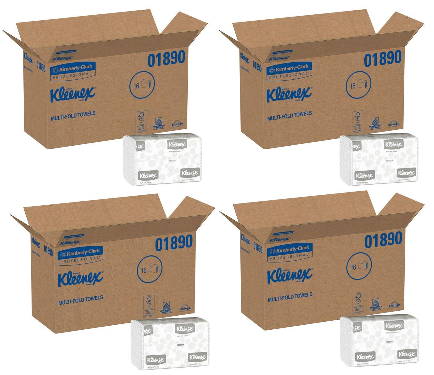 Kleenex Multifold Paper Towels (01890), White, Case of 64 Packs fdVsMO, 150 Tri Fold Paper Towels per Pack