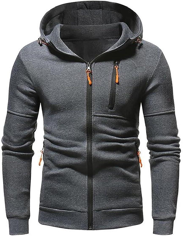 M/&S/&W Mens Lightweight Long Sleeve Cotton Full Zipper Hooded Sweatshirt