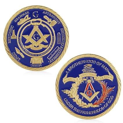 Amazon com: puhoon Commemorative Coin, Gold Plated Masonic